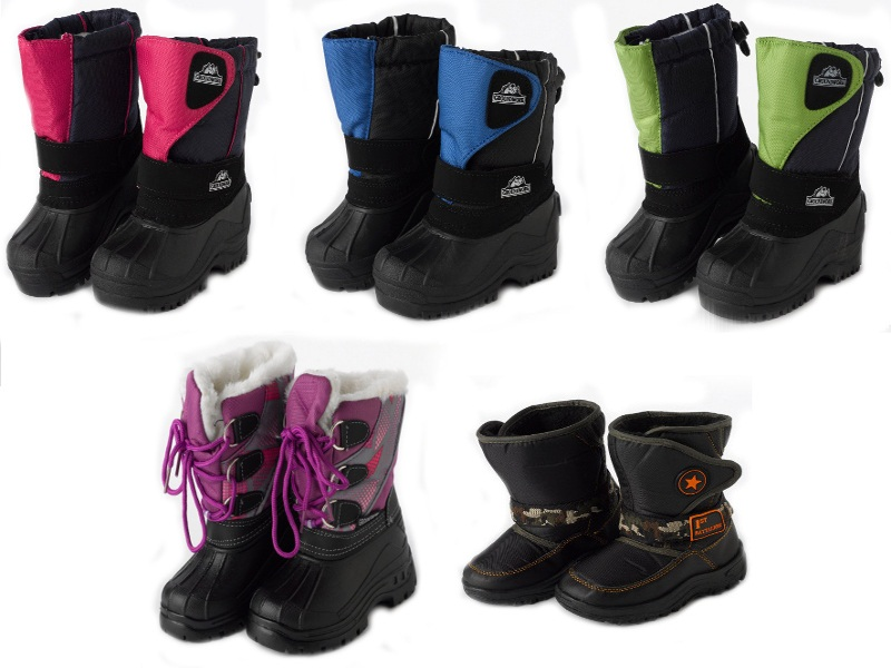 Kids Winter Snow Muck Boots Childrens Fleece Lined Velcro Outdoor ...