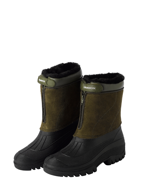 Stable Yard Mens Muck Boots Fleece Lined Zip Up Outdoor Riding