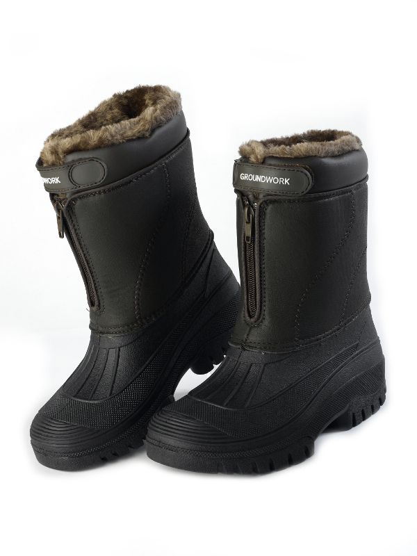 Faux Fur Lined Muck Boots Ladies Leather Style Stable Horse Riding ...