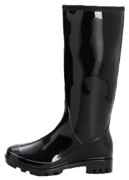 Ladies Plain Black Snow Wellington Boots UK 3-9 Waterproof ...