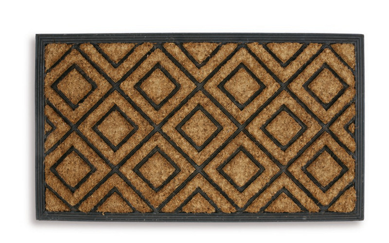 fortress 70cm x 40cm double diamond doormat rubber coir heavy duty entrance mat ebay. Black Bedroom Furniture Sets. Home Design Ideas