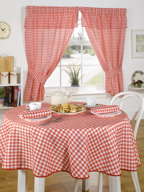Pencil Pleat Kitchen Curtains With Tie Backs Traditional Molly Gingham Checked Ebay