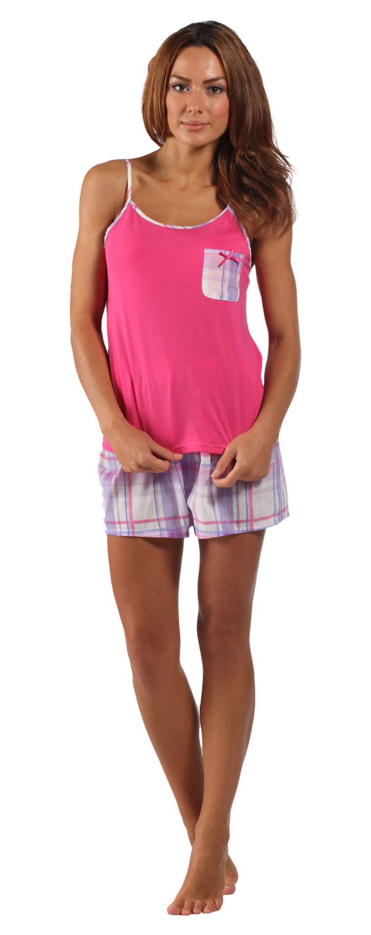 Strappy Jersey Top & Checked Shorts Pyjamas Ladies Lightweight ...