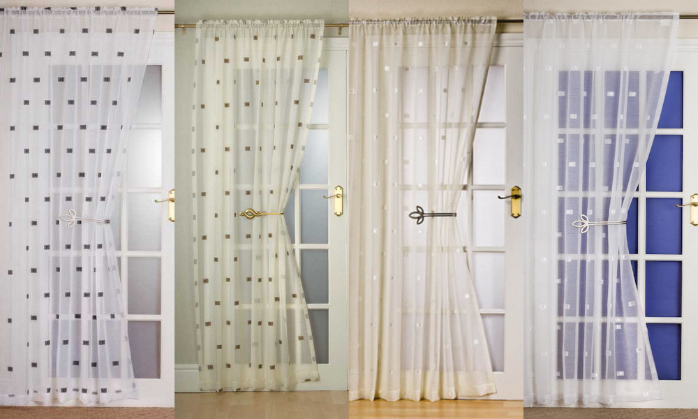 Contemporary slot top square design door window curtain for Door net curtains