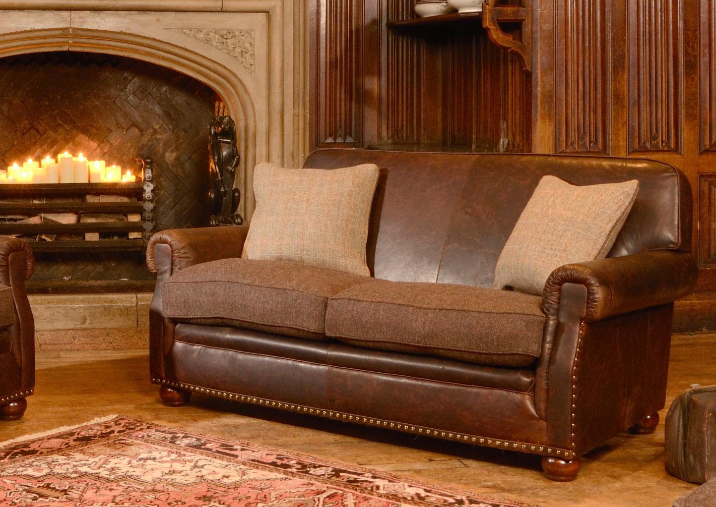 Stornoway tetrad harris tweed handmade furniture for Leather and tweed sofa