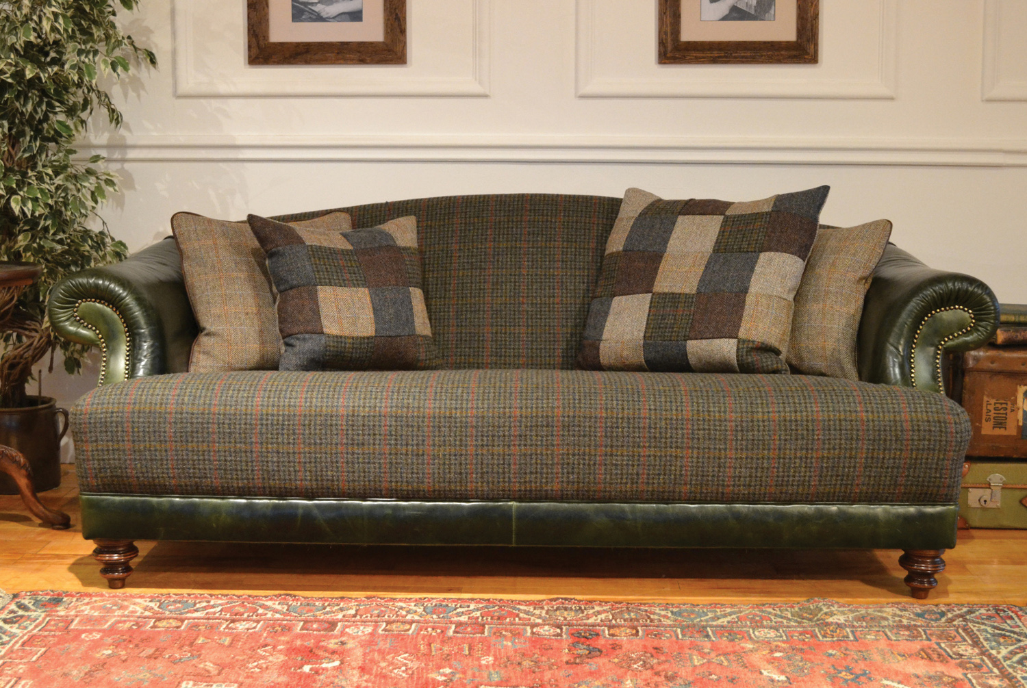 Taransay traditional harris tweed handmade furniture for Leather and tweed sofa