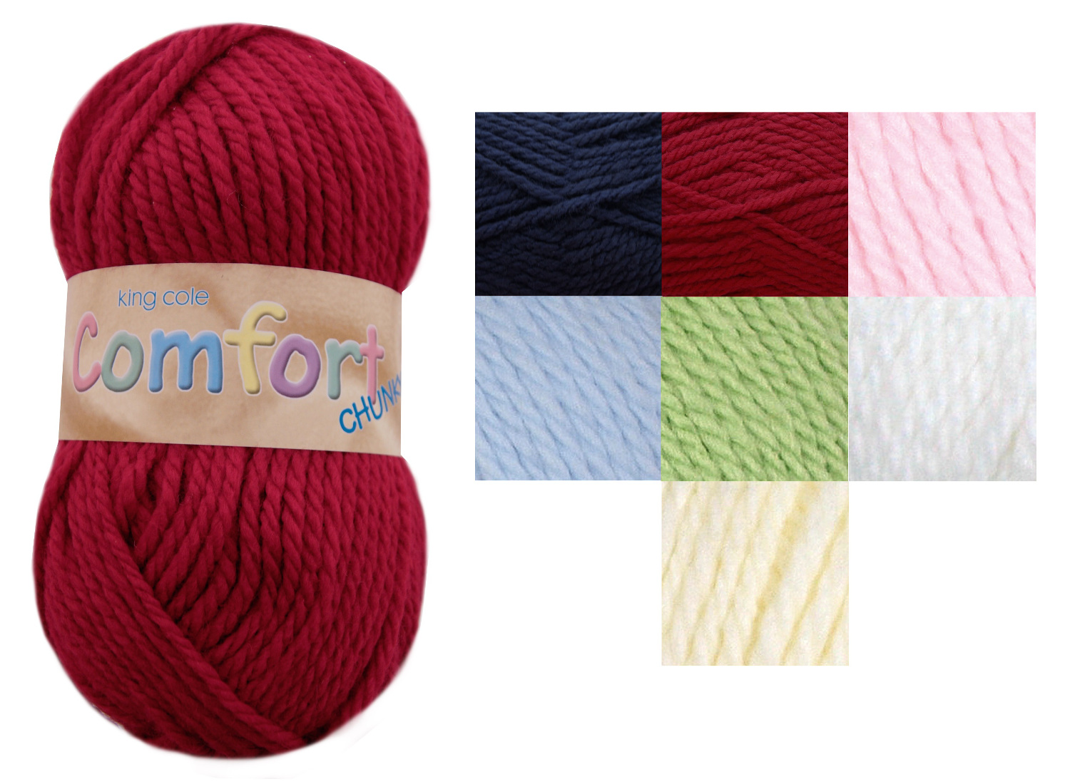 Chunky Yarn : ... Comfort Chunky Knitting Wool King Cole Acrylic & Nylon Super Soft Yarn