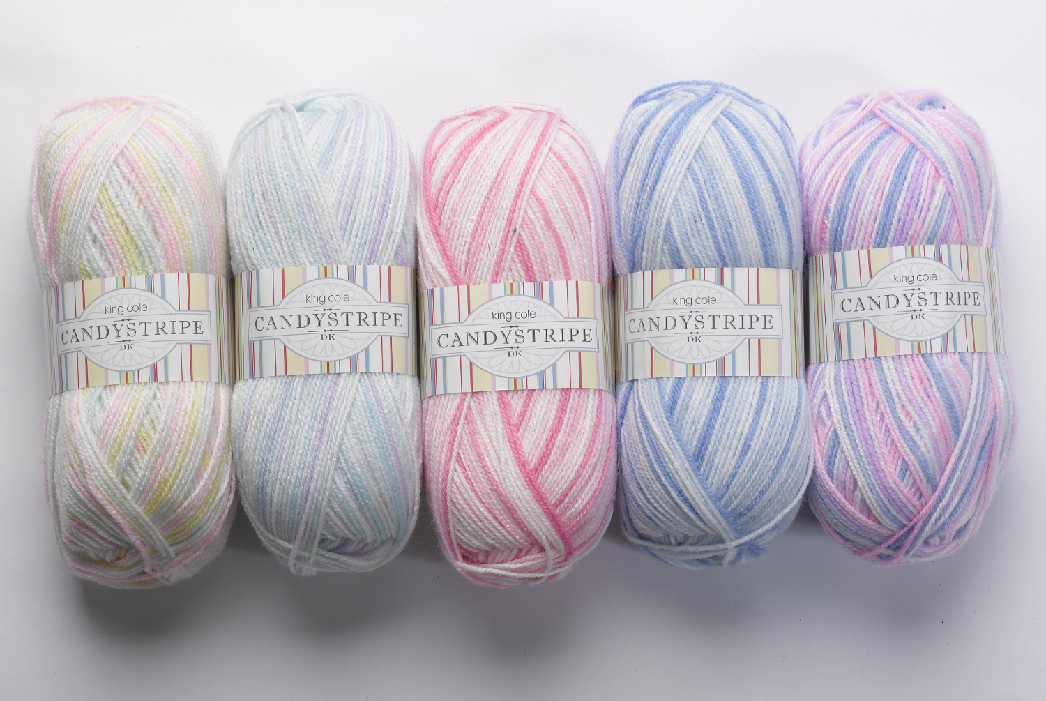 ... Acrylic Double Knitting DK Wool 100g Ball Candy Stripe King Cole Yarn
