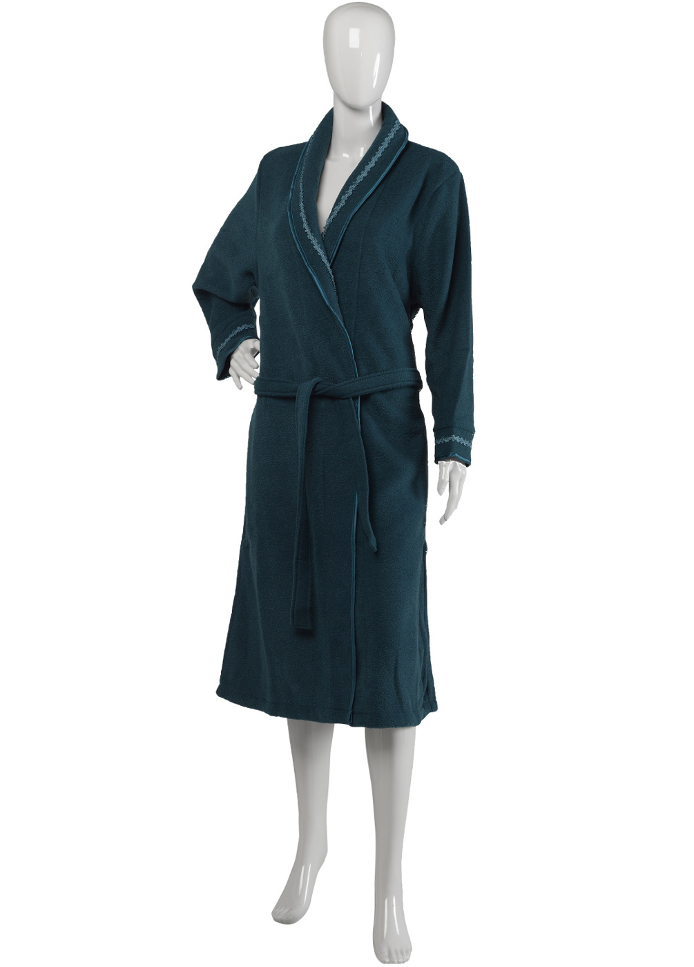 Womens Slenderella Knee Length Dressing Gown Shawl Collar Coral ...
