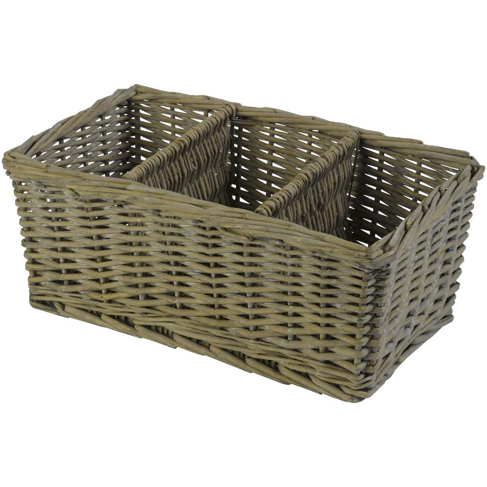 Grey Wash Wicker Storage Basket: Country Living Shabby Chic Grey Wash Wicker Storage Basket