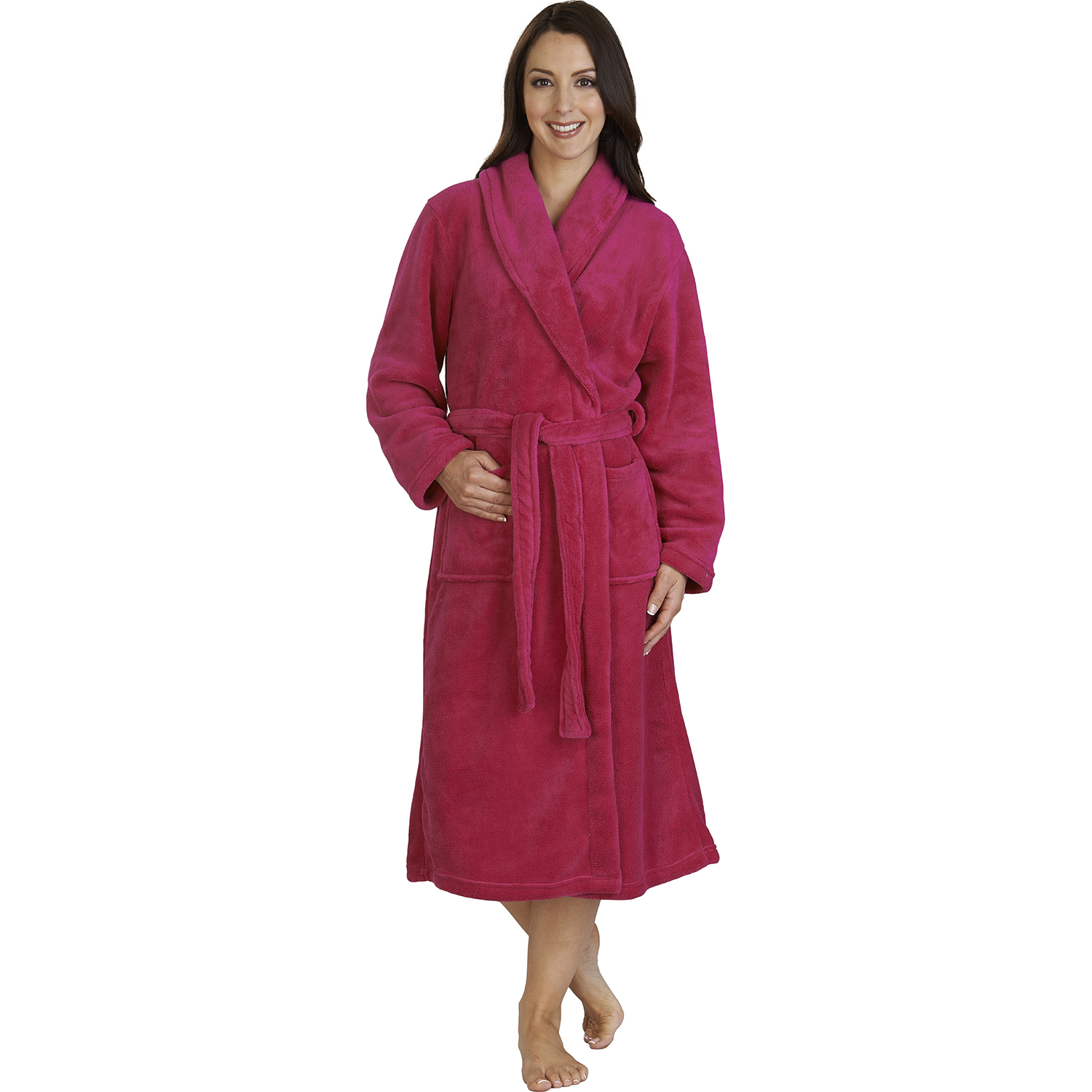 Slenderella Thick Soft Fleece Shawl Collar Dressing Gown Wrap Around ...