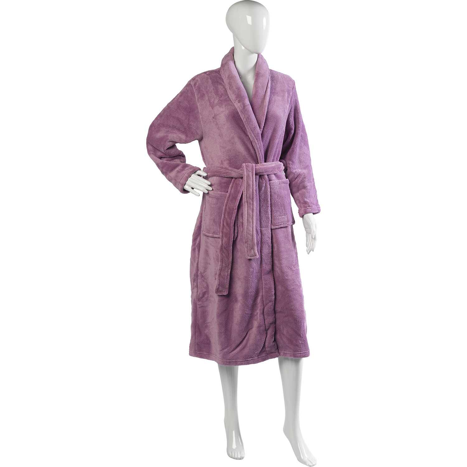 House Coat: Slenderella Thick Soft Fleece Shawl Collar Dressing Gown
