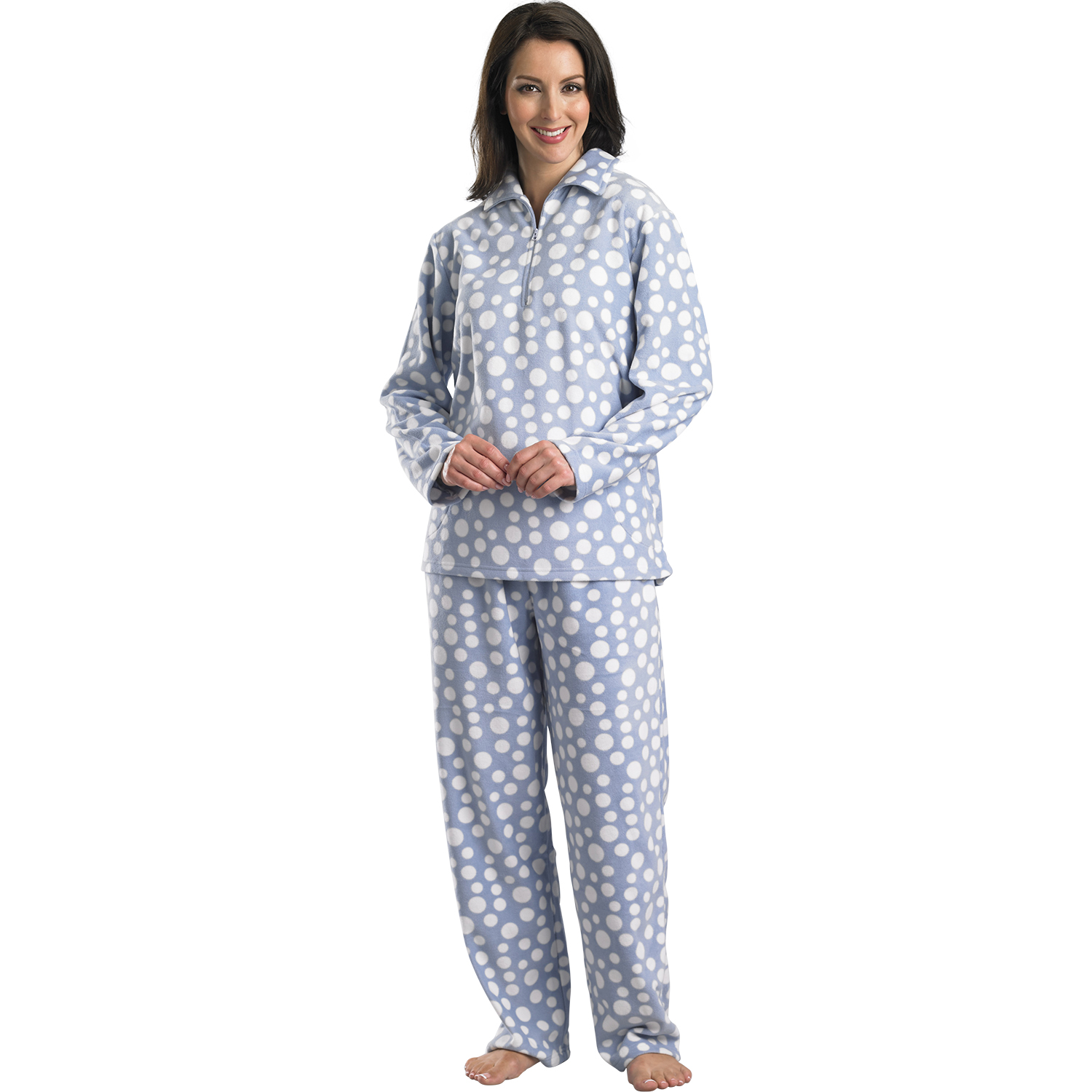 Womens Slenderella Polka Dot Pyjamas Ladies Soft Polar Fleece ...