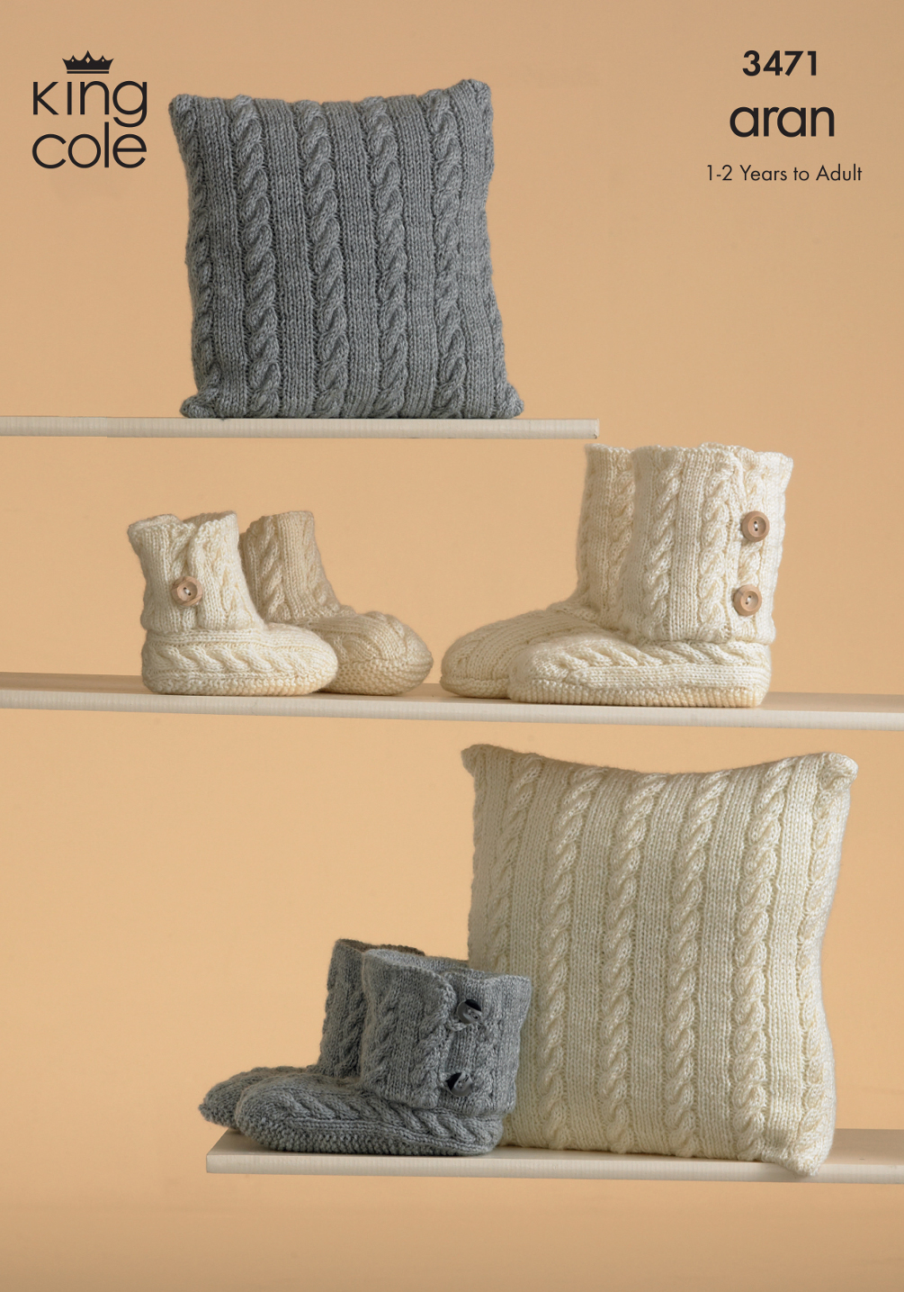 King Cole Aran Knitting Pattern Warm Knitted Boot Slippers & Cushion Cove...