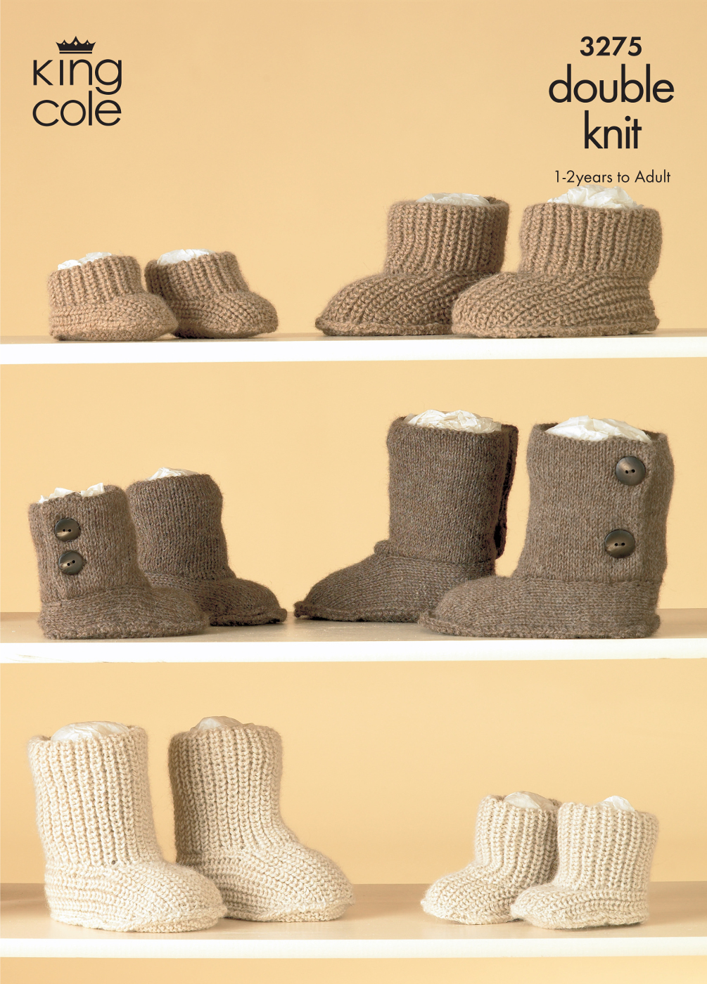 Double Knitting Pattern King Cole Kids Adults DK Knitted Hug Boot Slippers 34...