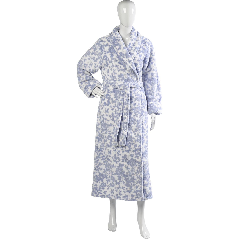 Womens Slenderella Bathrobe Ladies Floral Pattern Soft Fleece Long ...