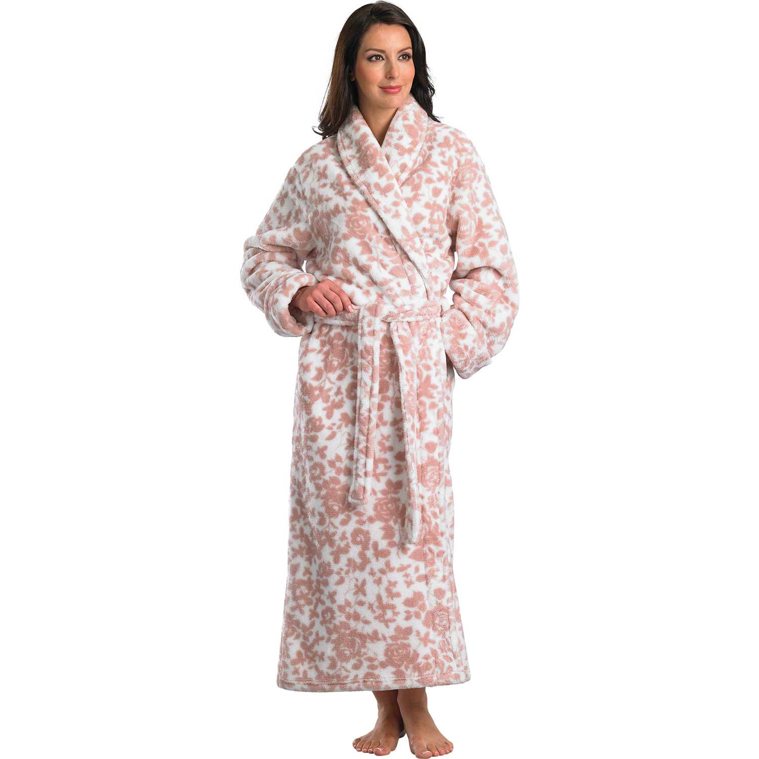 Womens Slenderella Bathrobe Ladies Floral Pattern Soft Fleece Long ...