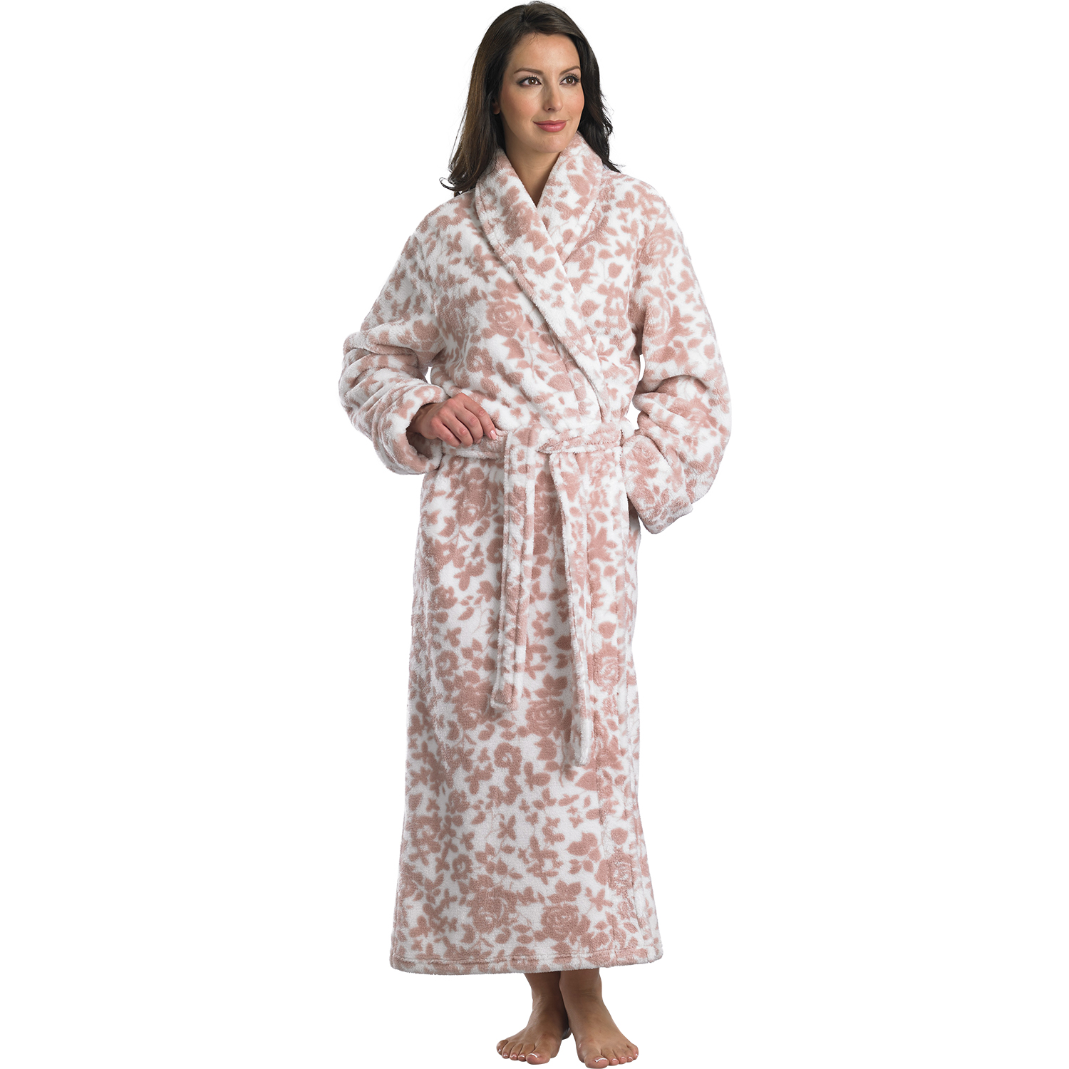 Slenderella Coral Fleece Dressing Gown Luxury Long Wrap Around ...