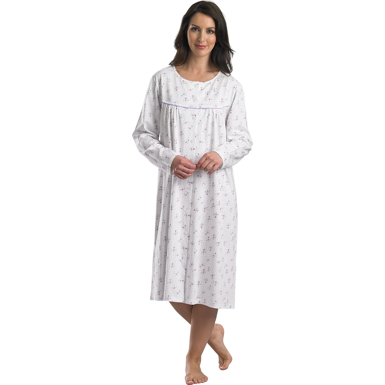slenderella damen nachthemd schlafanzug lang rmlig mit. Black Bedroom Furniture Sets. Home Design Ideas