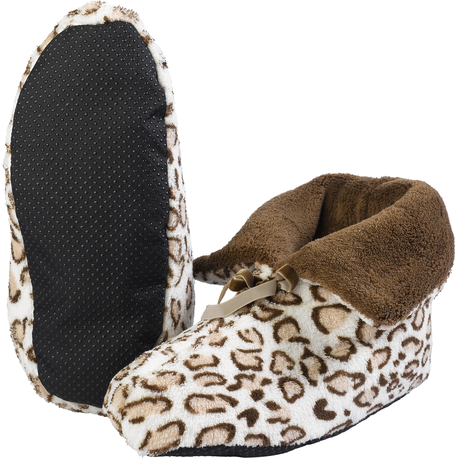 Treat your feet to this adorable pair of super-soft, leopard print Snoozies! A comfy cross between socks and slippers that are perfect for those colder months, Snoozies feature non-skid soles for safety on slick floors and a warm, cozy pom-pom Sherpa interior lining.
