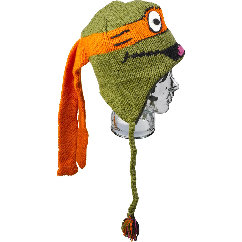 Bonnet tortue ninja artisanal fait main 100 laine fantaisie gland taille unique - Tortue ninja orange ...