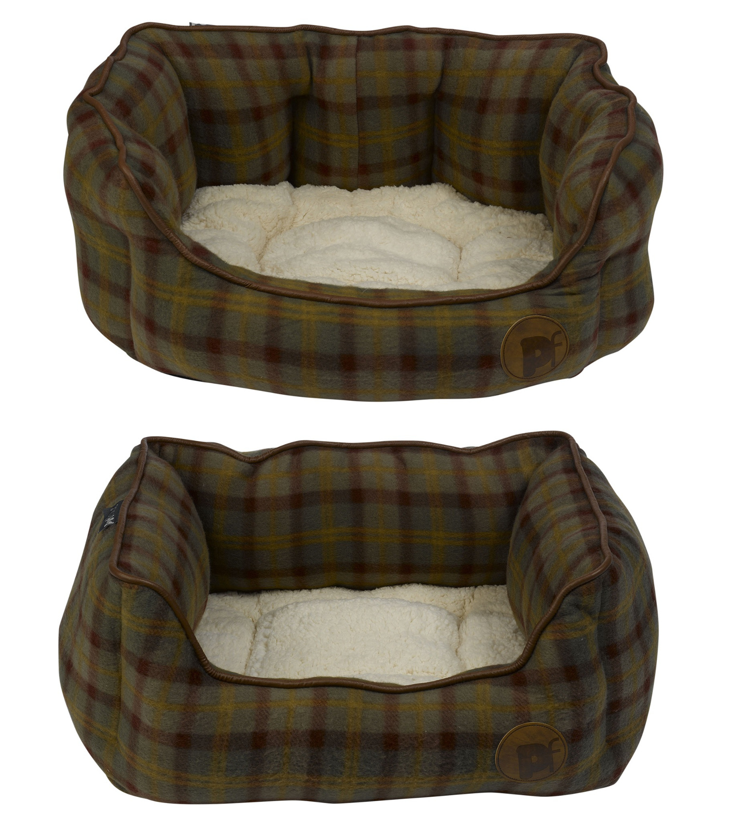 pet face country check luxury dog bed fleece faux. Black Bedroom Furniture Sets. Home Design Ideas