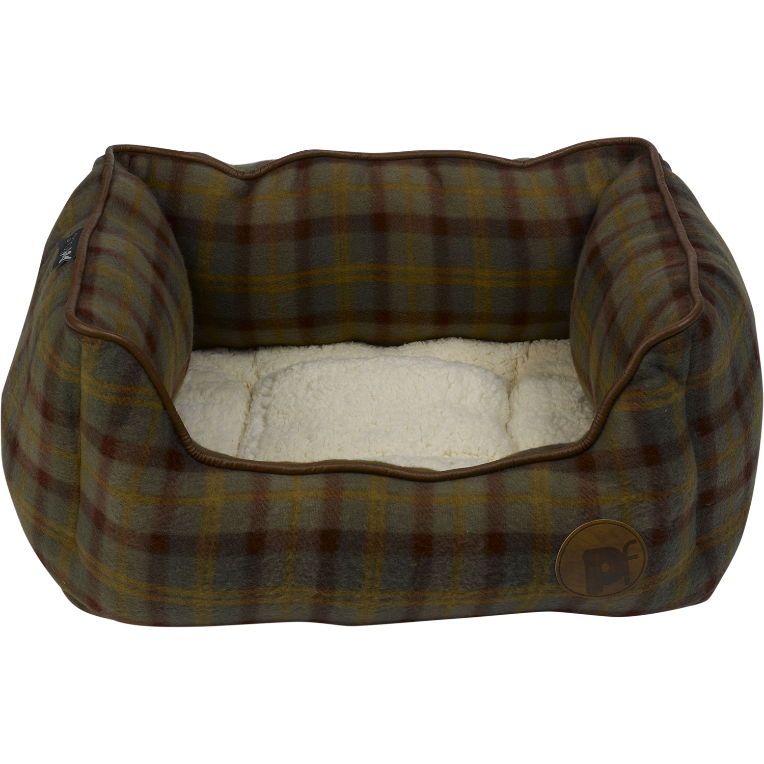 fleece dog bed pet face luxury country check puppy basket. Black Bedroom Furniture Sets. Home Design Ideas