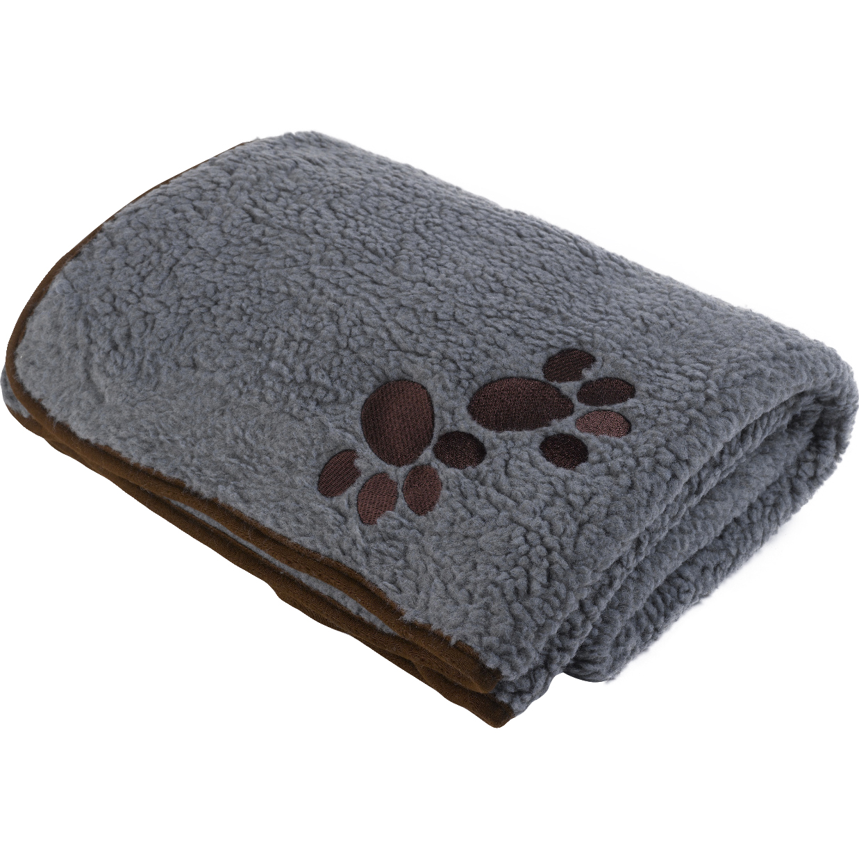 Pet Face Soft Sherpa Fleece Dog Blanket Warm Cosy Paw Print Puppy Cat ...