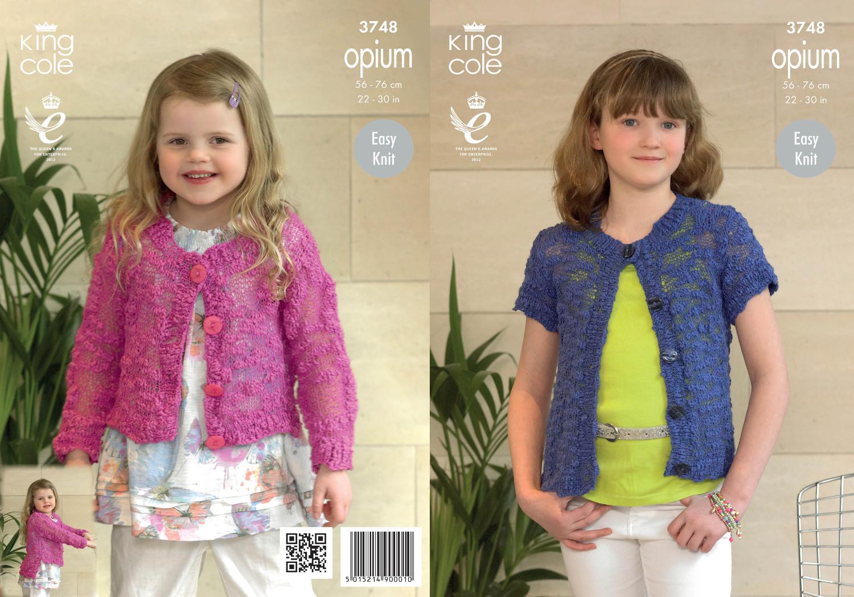 Girls Knitting Pattern King Cole Opium Easy Knit Long Short Sleeve Cardigan 3748