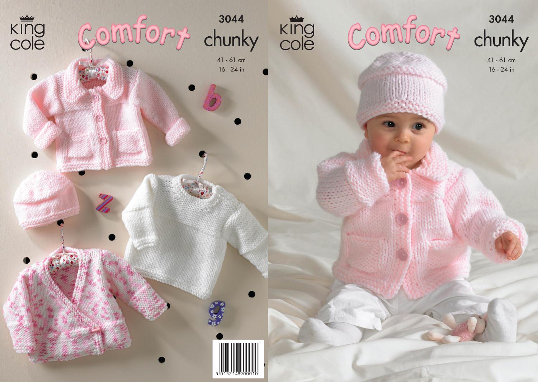 Chunky Knit Cardigan Pattern For Children : King Cole Comfort Chunky Knitting Pattern Girls Jacket Sweater Cardigan Hat 3...