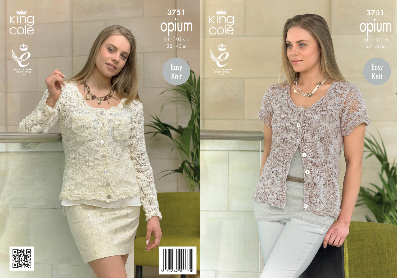 Knitting Pattern Ladies Short Sleeve Cardigan : King Cole Womens Knitting Pattern Ladies Opium Long Short Sleeve Cardigan 375...