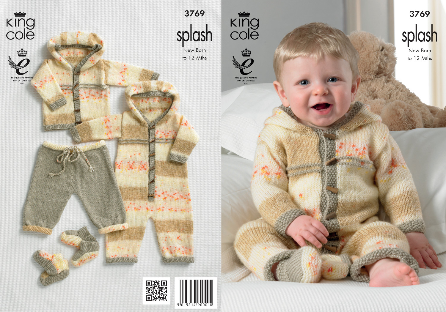 Knitting Pattern Baby All In One : Baby Double Knitting Pattern Splash DK King Cole Coat ...