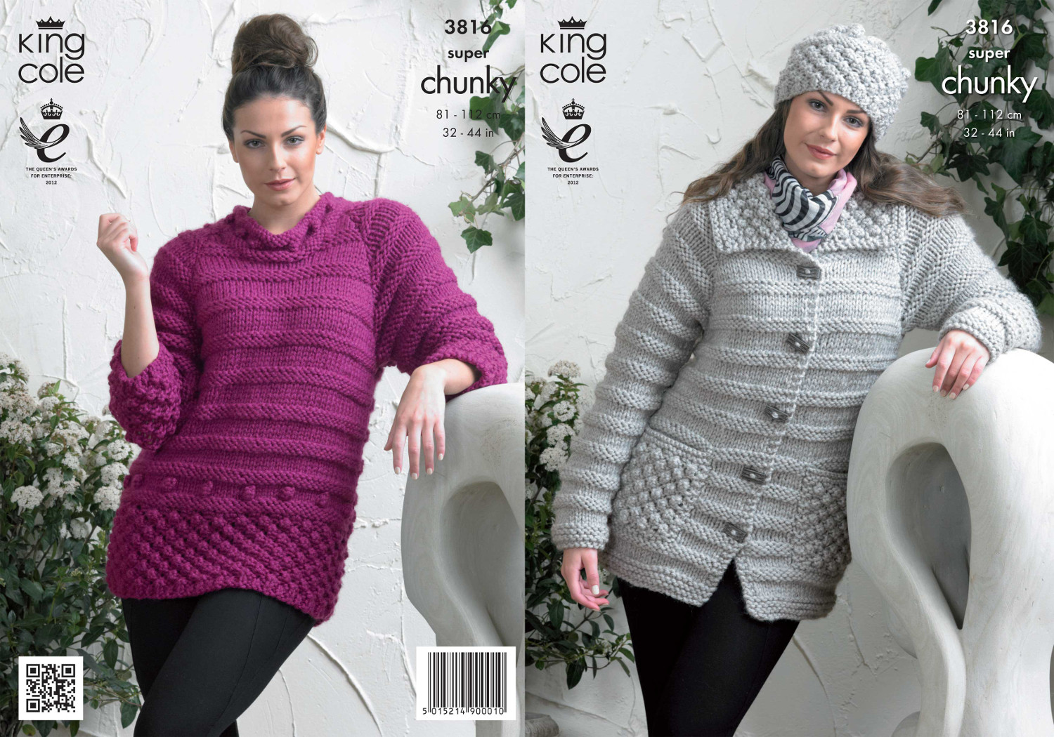 Super Chunky Jumper Knitting Pattern : Ladies Super Chunky Knitting Pattern King Cole Striped Sweater Jacket Hat 381...