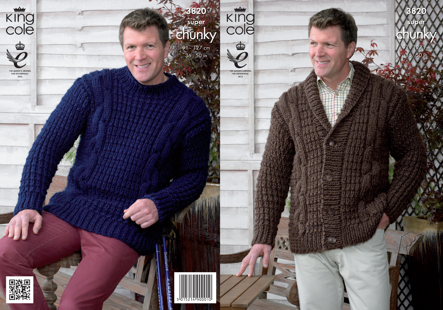 King Cole Mens Knitting Pattern Super Chunky Cable Knit Cardigan Sweater 3820...