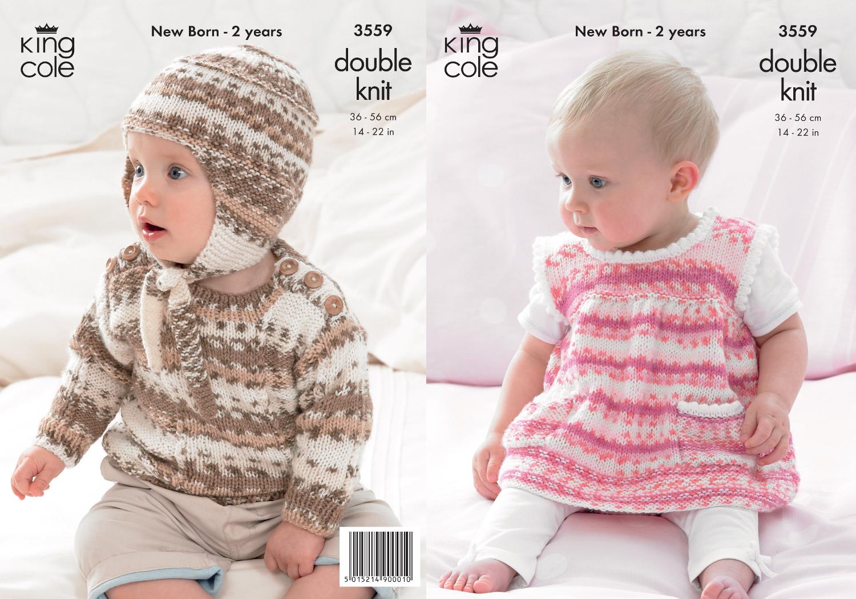 Baby Jumper Knitting Pattern : King cole baby double knitting dk pattern striped dress