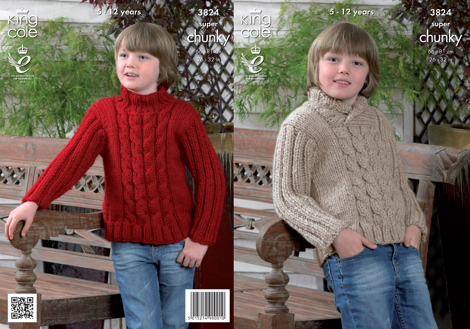 King Cole Super Chunky Knitting Pattern Boys Roll Round Neck Jumper Sweater 3...