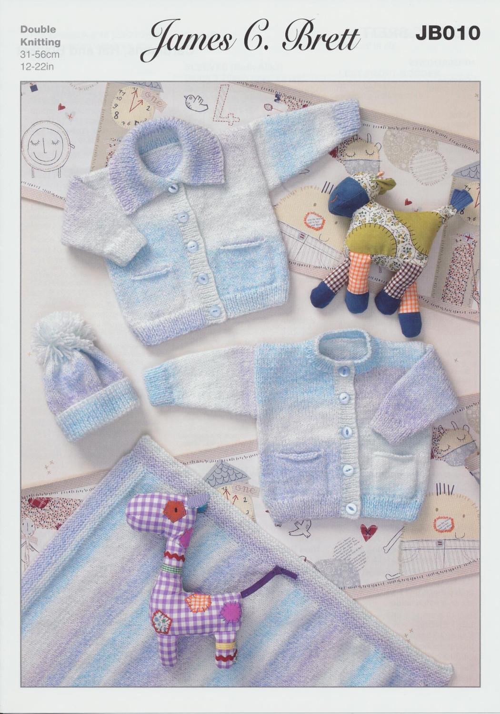 Bobble Hat Double Knitting Pattern : Double Knitting Pattern Baby Cardigans Bobble Hat Blanket James Brett DK JB01...