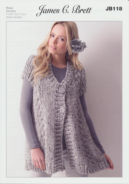 James Brett Chunky Knitting Pattern Ladies Cable Knit Short Sleeved Jacket JB118