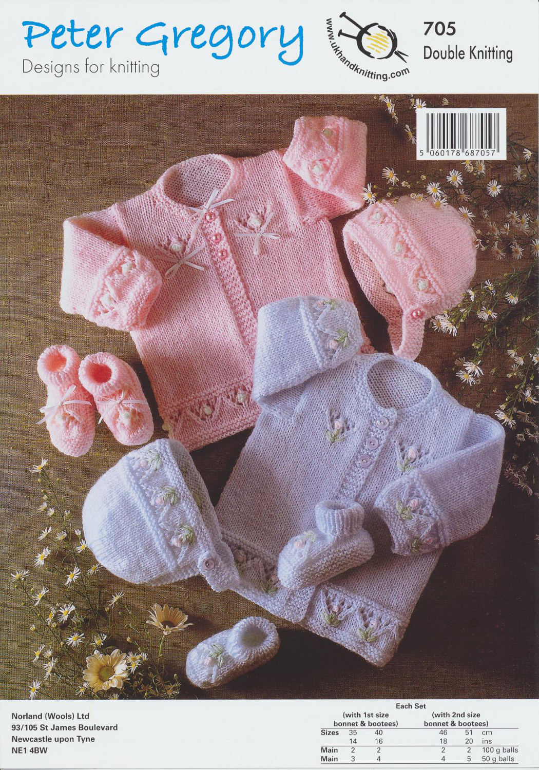 Scarves Knitting Patterns Free : Baby Double Knitting Pattern Floral Coat Bonnet & Bootees Peter Gregory D...