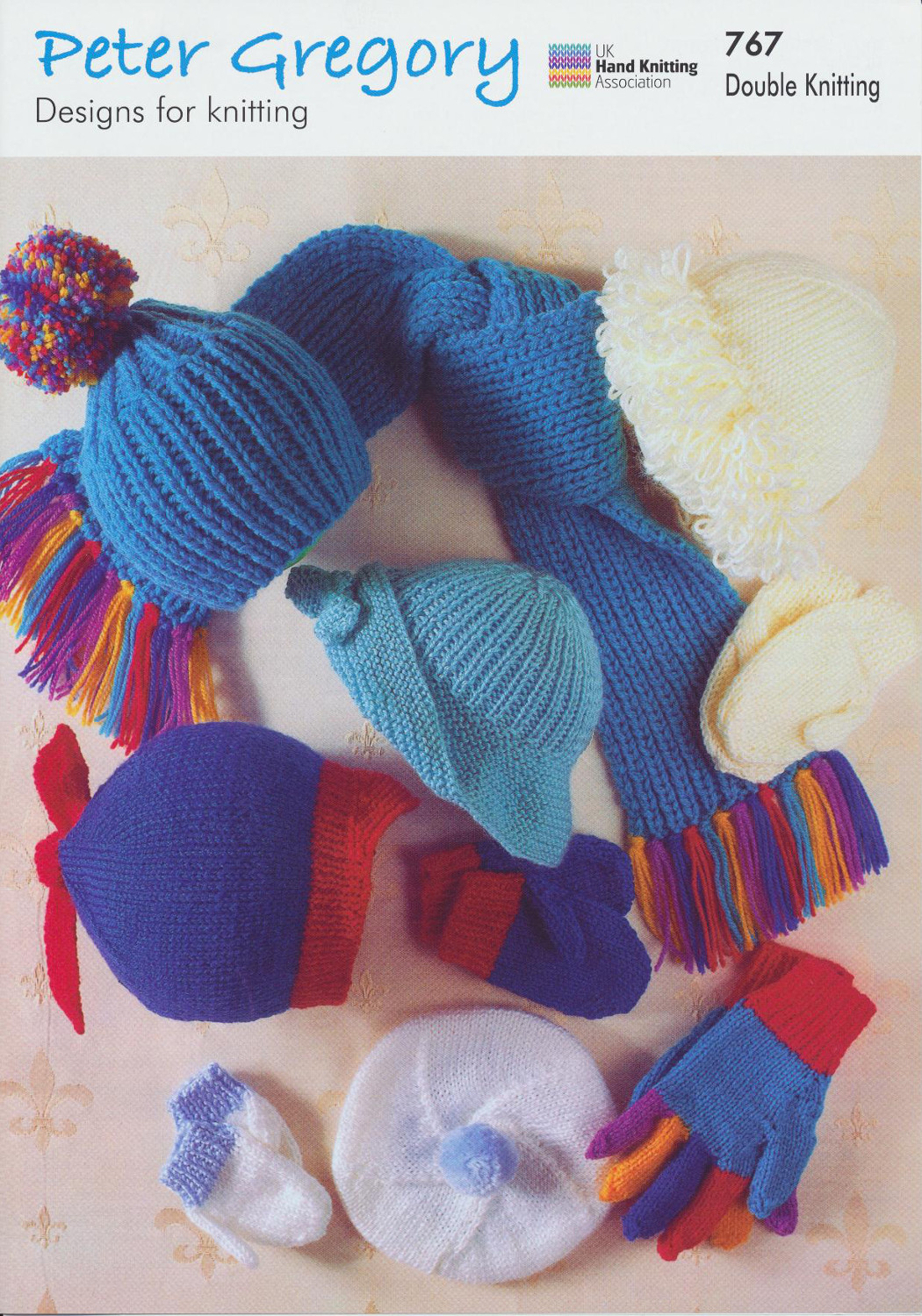 Peter Gregory Double Knitting Pattern Baby DK Hat Beret Scarf Mittens Gloves ...