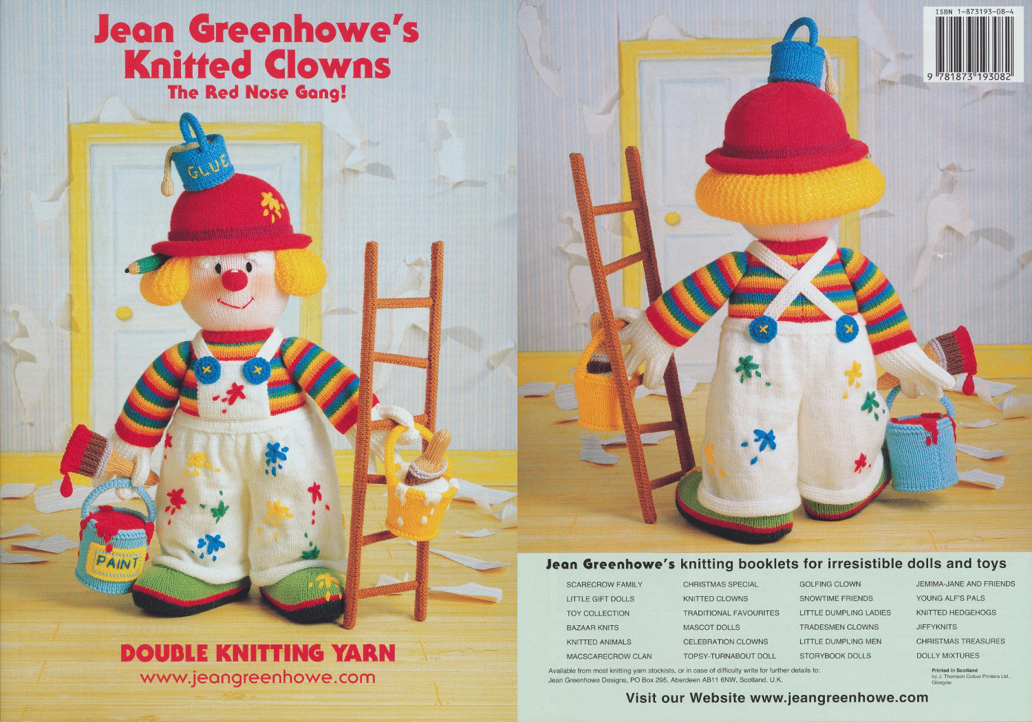 Jean Greenhowe Knitted Clowns Knitting Book Double Knit Colourful Toy Patterns