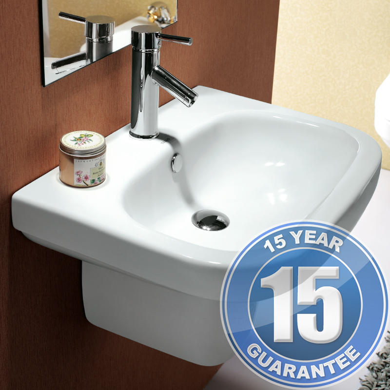View Item Europa Contra 1TH Contemporary Ceramic Bathroom Basin & Pedestal Sink 3046D