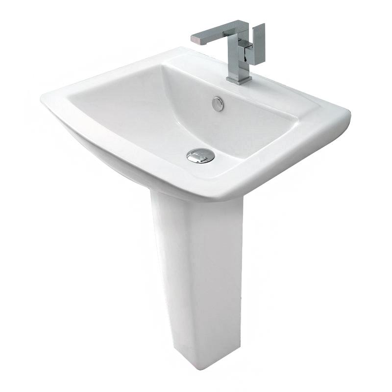 Contemporary Pedestal Sinks : ... St Moritz 1TH Contemporary Ceramic Bathroom Basin & Pedestal Sink 3032