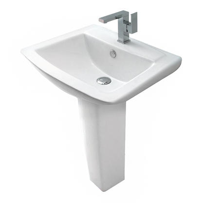 Europa St Moritz 1TH Contemporary Ceramic Bathroom Basin & Pedestal Sink 3032