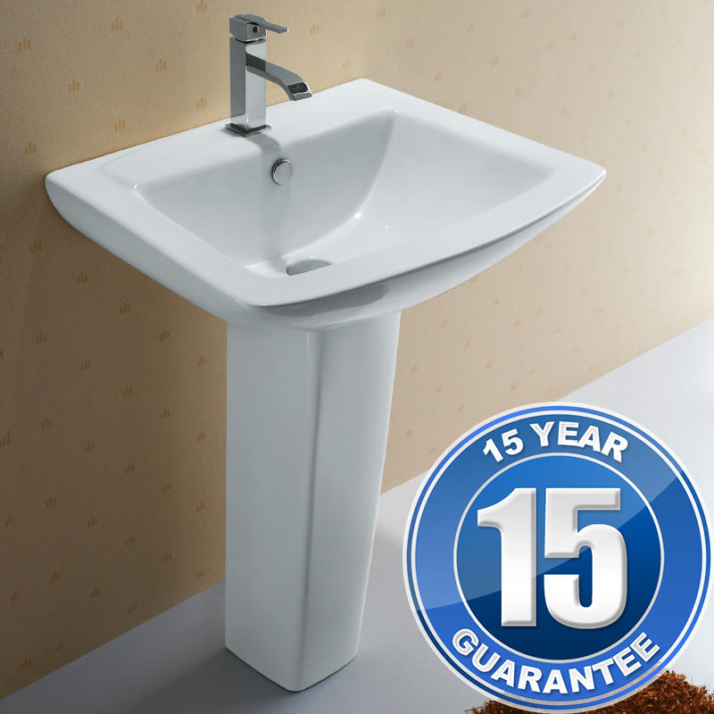 View Item Europa St Moritz Ceramic Contemporary Bathroom Basin & Pedestal Sink 3032