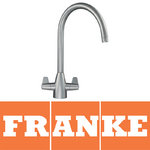 View Item Franke Davos J Silk Steel Twin Lever Swivel Spout Kitchen Sink Mixer Tap