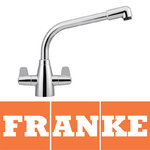 View Item Franke Davos Silk Steel Twin Lever Swivel Spout Kitchen Sink Mixer Tap