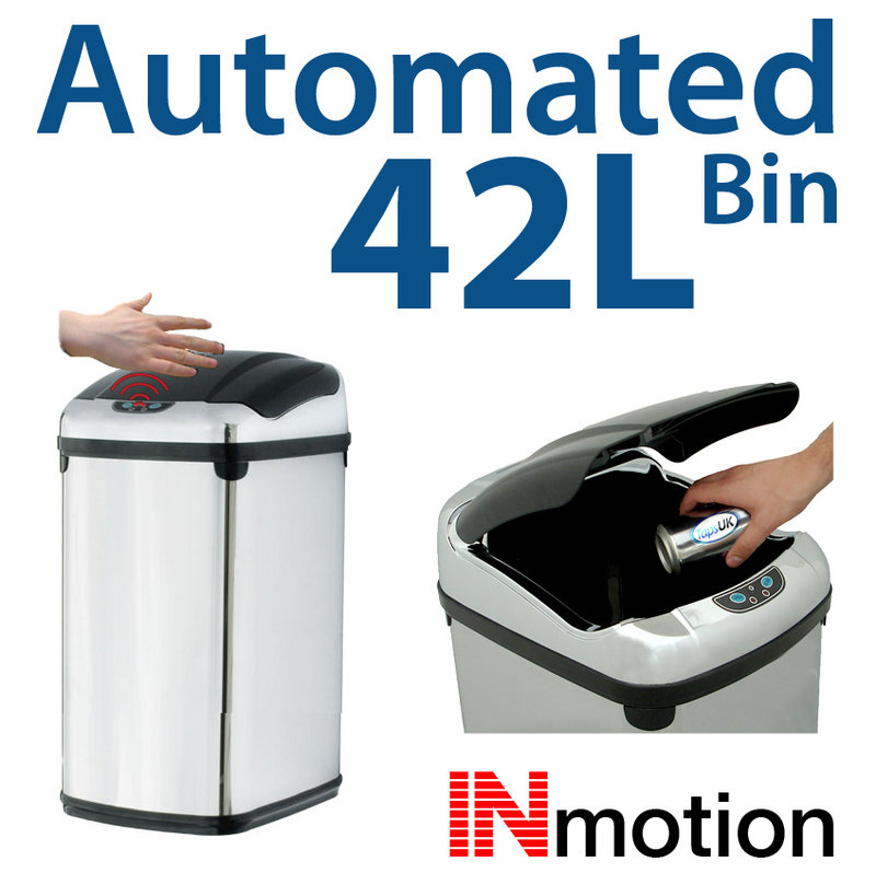View Item 42L Stainless Steel Auto Sensor Kitchen Waste Dust Bin
