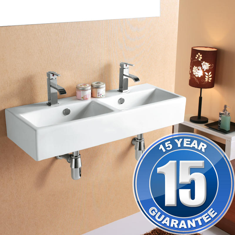 View Item Europa Santana 2TH Ceramic Wall Hung Bathroom  Basin Sink 4128D