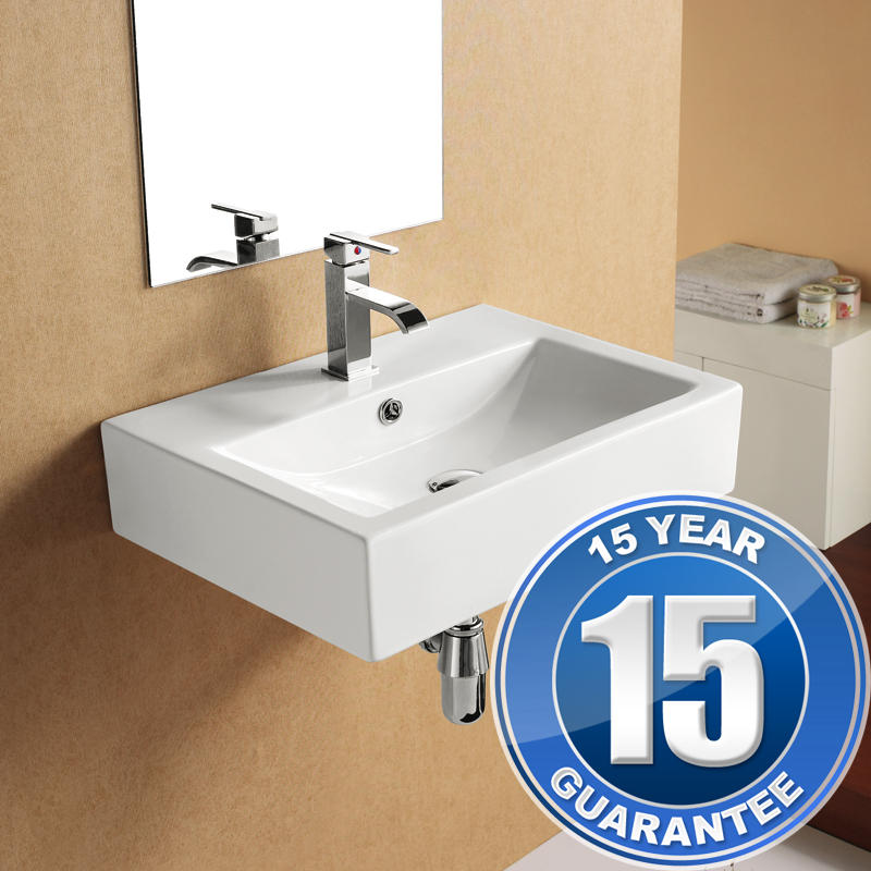 View Item Europa Apex 1TH Contemporary Ceramic Bathroom Wall Hung Basin Sink 4394